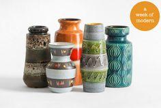 West German vintage vases by Hindsvik.   Fun!!