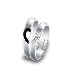Real 925 Sterling Silver Rings CZ Zircon Heart Rings Matching Couple Promise Rings Matching Set Wedding Jewelry K220