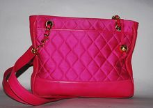 Authentic Chanel Vintage Fuchsia Pink Satin Leather Matelasse Bag