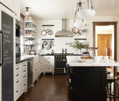 Eclectic Island Style White kitchen, white cabinets, Nicole Hough Designs,