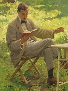 Harold Knight (English portrait, genre and landscape painter) 1874 - 1961Alfred Munnings reading, ca. 1910