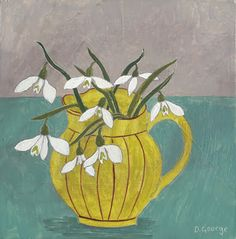 Yellow Jug and Snowdrops Diy Canvas Art, Plant Illustration, Naive Art, Illustrations, Gravure, Botanical Art, Painting Inspiration, Altered Art, Flower Art