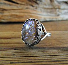 Grey Dragons Breath Glass Opal Cocktail Ring by theknottedgem