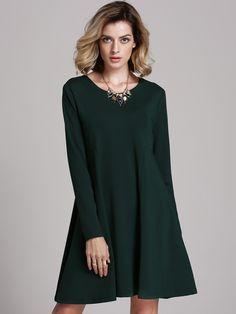 Dark Informal Green Long Sleeve Casual Dress