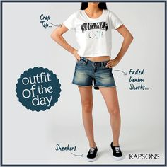 Its all all dressing funky... #OutfitOfTheDay #Kapsons #CropTop #FadedDenimShorts #Sneakers #Womenswear #FashionForWomen