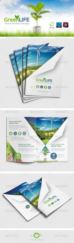 Buy Green Energy Brochure Templates by grafilker on GraphicRiver. Green Energy Brochure Templates Fully layered INDD Fully layered PSD 300 Dpi, CMYK IDML format open Indesign or l. Brochure Layout, Brochure Template, Corporate Design, Corporate Brochure, Print Layout, Layout Design, Design Design, Leaflet Design, Company Brochure