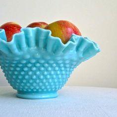 Vintage Fenton Hobnail Turquoise Glass Bowl