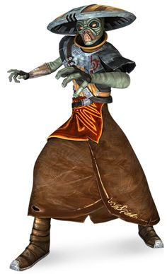 The Kyuzo were a sentient species with yellow eyes and green skin. They were fast and high jumpers. Kyuzo also spoke their native language. The species was known for having highly capable warriors, who had very high standards of honor.