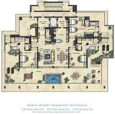 Penthouses in miami floor plans acqualina sunny isles for Miami mansion floor plans