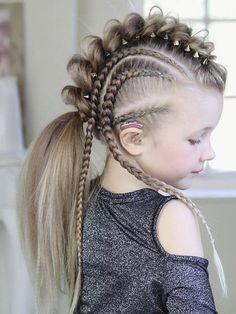 Kartter mae viking braids mohawk in 2020 viking hair hair styles braided hairstyles kartter mae viking braids mohawk in 2020 viking hair hair styles braided hairstyles Box Braids Hairstyles, Cool Hairstyles, Viking Hairstyles, Wacky Hair, Girl Hair Dos, Viking Braids, Mohawk Braid, Crazy Hair Days, Little Girl Hairstyles
