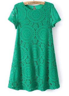 Vintage Inspired Green Casual A Line Short Sleeve Mini Dress