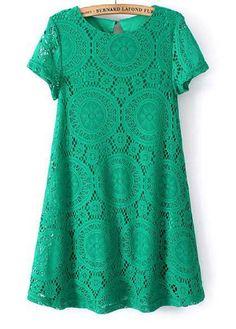 wholesale Green Casual A Line Short Sleeve Mini Dress