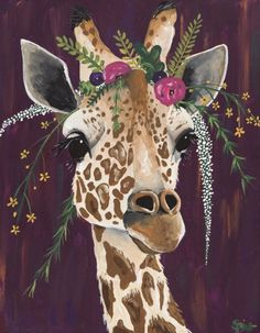 Spring Whitaker paints a glamourous giraffe over a purple background with a crown of beautiful assortment of flowers. Our canvas wall art and art prints are proudly printed in the USA using the coveted giclée method. Painting Inspiration, Art Inspo, Style Inspiration, Giraffe Art, Giraffe Drawing, Giraffe Painting, Giraffe Bedroom, Giraffe Decor, Purple Wall Art