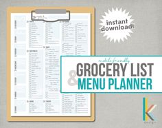 Mobile-Friendly, Printable Grocery List and Menu Planner, Instant Download by thekreationsbykristy on Etsy https://www.etsy.com/transaction/1235640248