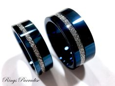 Wedding Bands Blue Meteorite Inlay Rings His and Her | Etsy Tungsten Carbide Wedding Bands, Engagement Bands, Tungsten Jewelry, Tungsten Rings, Wedding Jewelry, Wedding Rings, Matching Wedding Bands, Matching Rings, Dream Ring