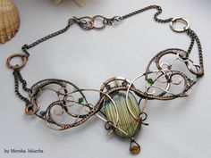 Blaire- wire wrapped necklace, labradorite, handmade, copper