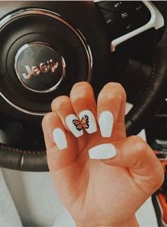 pretty acrylic nails for prom nails nailgoals acrylics acrylicnails butterfly nailart whitenails pretty nailpolish jeep vsco vscofilter vscovibes goodvibes Acrylic Nails Coffin Short, Simple Acrylic Nails, Best Acrylic Nails, Coffin Nails, Pointy Nails, Toenail Art Designs, Acrylic Nail Designs, Nagel Bling, Nagellack Design