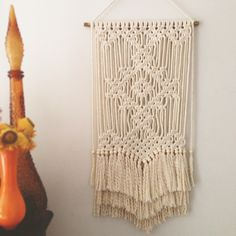 Small Macrame Wall Hanging by PrettyKooky on Etsy https://www.etsy.com/listing/240180473/small-macrame-wall-hanging