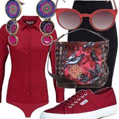 Per un pomeriggio a passeggio, una gonna tubino nera indossata con una camicia dal rosso deciso, aderente per risaltare la figura. Le scarpe comode sono rosse e la borsa in fantasia. Un tocco di eleganza con gli orecchini pendenti e con gli occhiali da sole, ovviamente in rosso!