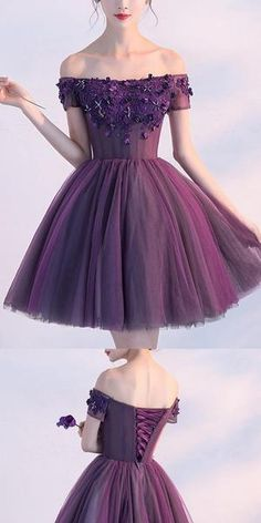 A-line Off-the -Shoulder Purple Tulle Homecoming Dress ,Short Prom A-Linie off-the-Schulter lila Tüll Heimkehr Kleid, kurze Ballkleider, Unique Homecoming Dresses, Hoco Dresses, Tight Dresses, Cute Dresses, Beautiful Dresses, Evening Dresses, Bridesmaid Dresses, Elegant Dresses, Sexy Dresses