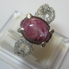 Cincin Silver Star Ruby Feminim Ring 6US