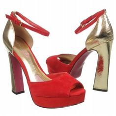 Paris Hilton Liel Shoes (Red Suede/Gold) - Women's Shoes - 10.0 M