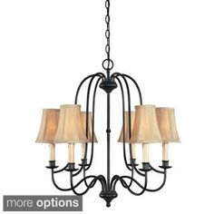 Brondy Collection Aged Ebony Chandelier with Ivory Fabric Shades Simple Chandelier, Bronze Chandelier, Chandelier Lighting, Lustre Simple, Ceiling Pendant, Ceiling Lights, Room Lights, Residential Lighting, Living Room Lighting