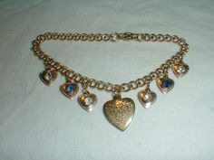 vintage our father prayer crystal heart charm bracelet - Quality Vintage Jewelry