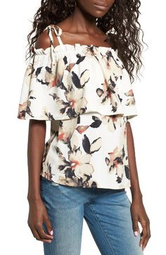 Leith Leith Off the Shoulder Floral Top available at #Nordstrom
