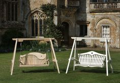 Chestnut & Accoya Swing Seats photographed at Forde Abbey