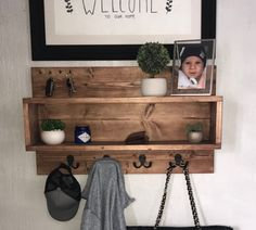 Modern Farmhouse Entryway Shelf with key and coat hooks | Etsy Home Organisation, Entryway Organization, Diy Wooden Projects, Wooden Diy, Coat Pegs, Entryway Shelf, Modern Entryway, Mail Holder, Long Shelf