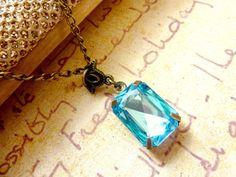 Aquamarine Necklace March Birthstone Aqua Blue by Dewdropsdreams, $22.00 https://www.etsy.com/listing/97390676/aquamarine-necklace-march-birthstone