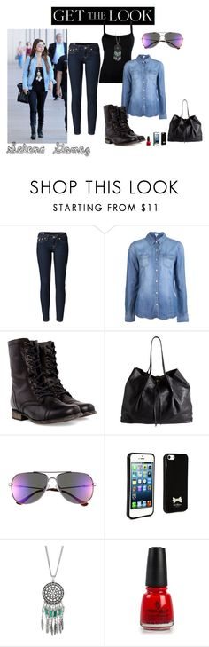 """""""Get the Look: Celebrity Street Style, Selena Gomez"""" by buzzbee-585 ❤ liked on Polyvore featuring True Religion, Splendid, Steve Madden, Nina Ricci, Le Specs, Ted Baker, MOOD and China Glaze"""