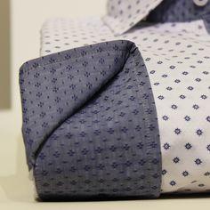 Comprar camisa la Vespita - Camisa blanca estampada con cuello y puño azul