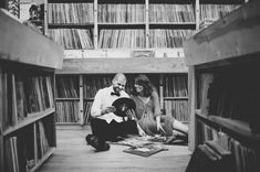 engagement shoot in a record store - Julie & Eugene by Manchik Photography