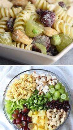 With pasta chicken sweet fruit salty cashews and a creamy dressing every bite of this Cashew Chicken Pasta Salad is like a circus of flavors! Chicken Salad Recipes, Pasta Recipes, Cooking Recipes, Healthy Recipes, Salad Chicken, Chicken Salaf, Chicken Macaroni Salad, Sides For Chicken, Chicken Asparagus