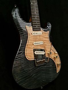 Knaggs Guitars Severn Trem in Onyx w/curly Maple pick guard Acoustic Guitar Chords, Prs Guitar, Guitar Shop, Cool Guitar, Guitar Art, Guitar Tips, Guitar Songs, Guitar Lessons, Custom Electric Guitars