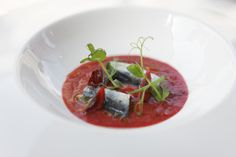 Cherry gazpacho with marinated sardines - Mallorcan recipe by chef Rafel Perelló - Son Brull Hotel & Spa Mallorca