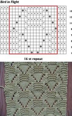 """""""Bird in Flight"""" lace knitting pattern"""