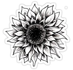 'Black and White Sunflower' Sticker by juliahealyy – foot tattoos for women flowers Cover Up Tattoos For Women, Tattoos For Women Flowers, Foot Tattoos For Women, Shoulder Tattoos For Women, Sleeve Tattoos For Women, Elbow Tattoos, Tattoos Skull, Line Tattoos, Black Tattoos