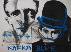 Blue Kafka  Mixed media on paper  28x38 cm