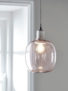 Blush Glass & Concrete Pendant - All For Decoration Glass Pendant Light, Ceiling Pendant, Glass Pendants, Pendant Lighting, Kitchen Pendants, Glass Ceiling Lights, Oval Pendant, Copper Glass, Grey Glass