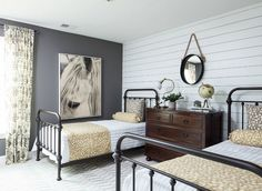 Vintage Farmhouse Decor 51 Farmhouse Bedroom Ideas - Modern Farmhouse Guest Bedroom - I love the cool grey accent wall paired with shiplap in this sleek contemporary country bedroom. Modern Farmhouse Bedroom, Modern Bedroom, Rustic Farmhouse, Farmhouse Ideas, Contemporary Bedroom, Industrial Farmhouse, Urban Farmhouse, Industrial Living, Rustic Industrial Bedroom