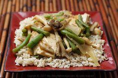Fat Free Vegan Kitchen: Maitake and Beech Mushrooms with Simmered Tofu on Sesame Rice