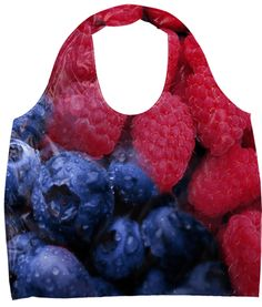 "Fruits Eco Bag. Material: 100% nylon. Bag width 20"", length 27"", gusset 3"", and handle 23"""