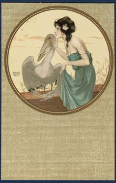 Beautiful Woman & Pelican  |  signed Raphael Kirchner
