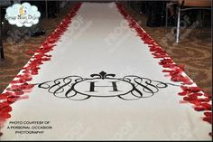 A matching design for all wedding elements also hand painted on this wedding aisle runner #customaislerunners, #princessweddingrunners