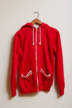 Vintage 1980s Penman's Knock-A-Bout Hoodie in Red Acrylic with White Detailing Pockets