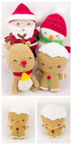 Amigurumi Crochet Christmas Patterns - Set of 4 (Snowman, Gingerbread Man, Reindeer, Santa) -- DIY Doll Plush Ornament Gift For Holidays Crochet Crafts, Crochet Toys, Crochet Projects, Free Crochet, Crochet Santa, Holiday Crochet, Crochet Snowman, Christmas Characters, Christmas Settings
