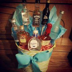my mini liquor bottle bouquet! best gift idea ever :)